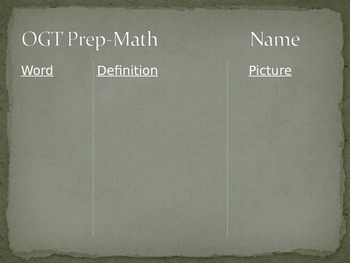 OGT Math Vocabulary