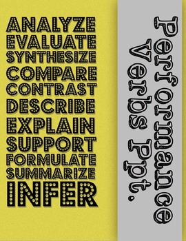 Performance Verbs (Analyze, Evaluate, Compare, etc.) PPt. with Scattergories