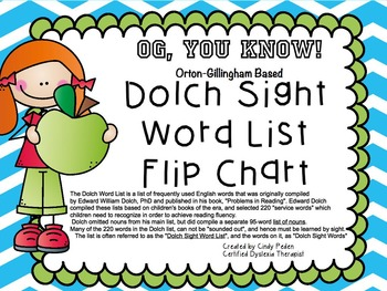 OGYouKnow Dolch Sight Words Promethean Flip Chart