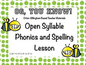Orton-Gillingham Based Lesson Open Syllable PROMETHEAN Flip Chart