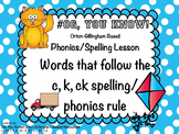 Orton-Gillingham Based Words with c, k or ck  PROMETHEAN F