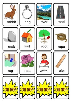OH NO! Articulation Game Cards for Initial R Words