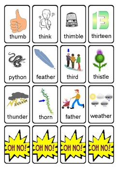 OH NO! Articulation Game Cards for TH Words {initial, medial, final positions}