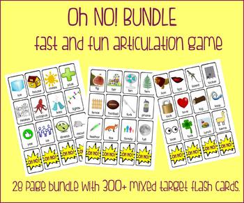 OH NO! Fast Articulation Game BUNDLE {300+ multiple target flash cards!}