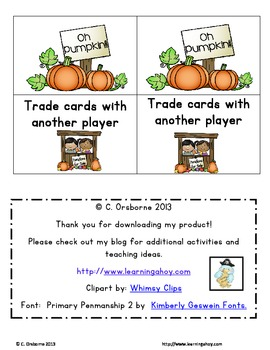 OH Pumpkin! Numbers ~ A number 1 -100 identification game
