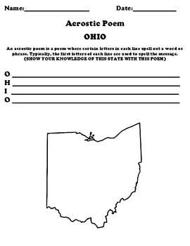 OHIO Acrostic Poem Worksheet