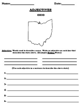 OHIO Adjectives Worksheet with Word Search