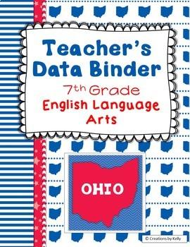 OHIO Data Binder Covers for 7th Grade ELA (Teacher & Student)