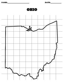 OHIO Coordinate Grid Map Blank