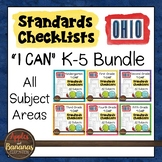 """OHIO K-5 Standards Checklists for All Subjects  - """"I Can"""" Bundle"""