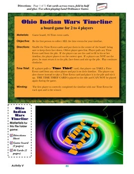 OHIO TIMELINE GAME--Indian Wars Edition