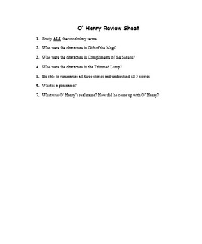 O'Henry Stories and  Assessment (Test); Christmas Stories