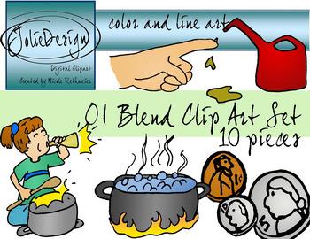 OI Blend Phonics Clip Art Set - Color and Line Art 10 pc set