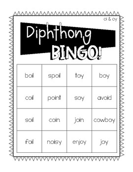 OI & OY Diphthong BINGO!
