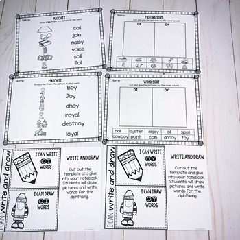 OI OY- Diphthong Activities and Printables