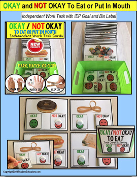 """OKAY/NOT OKAY TO EAT Task Cards """"Task Box Filler"""" for Special Education"""