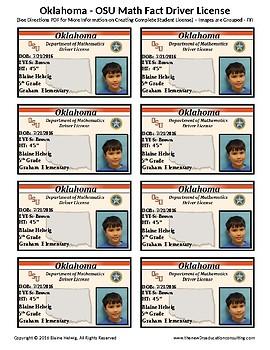 OKLAHOMA - OSU Math Driver's License- Math Fact Incentive Program-TEMPLATES-FREE