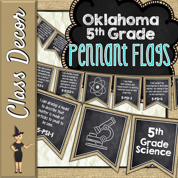 OKLAHOMA SCIENCE STANDARDS BANNERS, 5th GRADE, BURLAP & CHALKBOARD