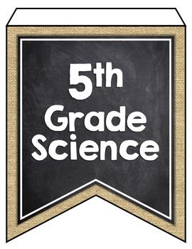 OKLAHOMA SCIENCE STANDARDS BANNERS, 5th GRADE, BURLAP & CHALKBOARD