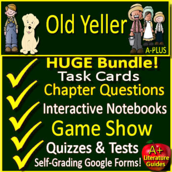 Old Yeller Novel Study - Print AND Paperless Google Ready w/ Self-Grading Tests
