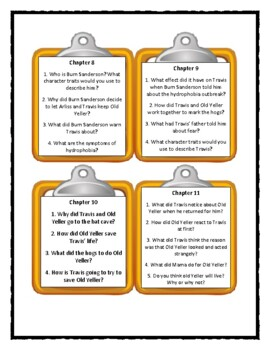 OLD YELLER by Fred Gipson - Discussion Cards