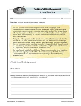 OLDEST GOVERNMENT: TYNWALD COURT—History Worksheets and Activities
