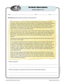 OLDEST INDUSTRY: FLINT KNAPPING—History Worksheets and Activities
