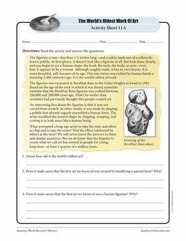 OLDEST WORK OF ART: HUMAN FIGURINE—History Worksheets and Activities