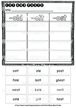 OLT, OLD, OST Sorts | Cut and Paste Worksheet