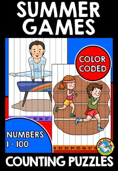 SUMMER GAMES CENTER (COUNTING TO 100 KINDERGARTEN PRACTICE) MATH PUZZLES