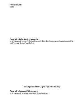 OMAM Of Mice and Men Reading Journals Summaries Analysis Writing
