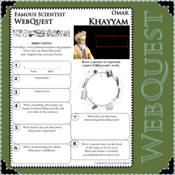 OMAR KHAYYAM Science WebQuest Scientist Research Project Biography Notes