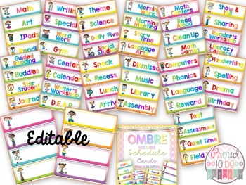Schedule Cards OMBRE EDITABLE