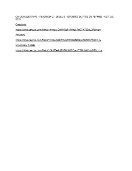 ON GOOGLE DRIVE - READINGA-Z - LEVEL E - TOUTES SORTES DE FERMES - OCT. 22, 2018