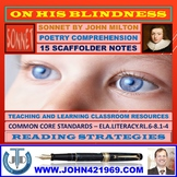 ON HIS BLINDNESS - MILTONIC SONNET - SCAFFOLD NOTES