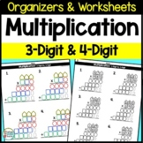 3-Digit and 4-Digit Multiplication Worksheets and Organizers