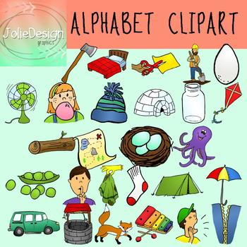 Alphabet Words Clipart Set - Color and Line Art 54 pc set