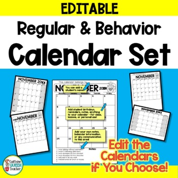 Behavior Calendar and Regular Calendar Set  EDITABLE