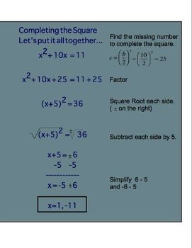 ON SALE!! Completing the Square SMART Board Notebook Presentation