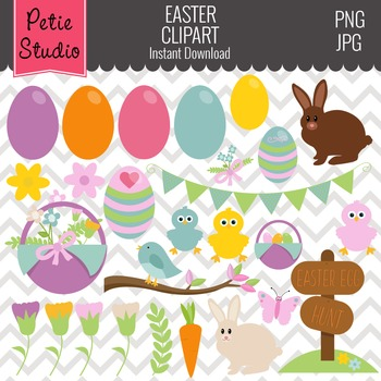 ON SALE Easter Clipart // Bunny Clipart // Easter Egg Hunt