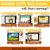 November Digital Math Stations l Task Cards | Boom Cards™