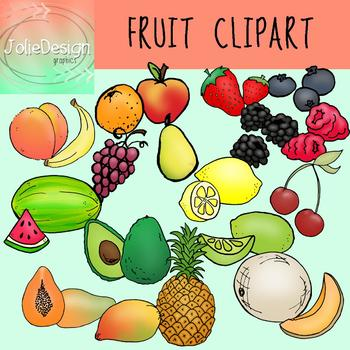 Fruits Clip Art - Color and Line Art 38 pc set