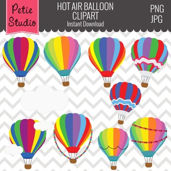ON SALE Hot Air Balloons Clipart // Cloud Clipart - Objects 103