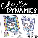 Music Worksheets: Color By Dynamics - Winter Themed
