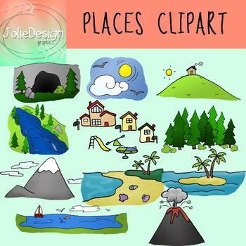 Places Clipart - Color & Line Art 22 piece set