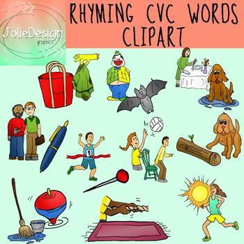 Rhyming CVC Clipart Set - Color and Line Art 40 pc set