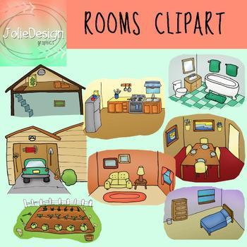 Rooms Clipart - Color & Line Art 16 piece set