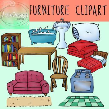 Furniture Clipart - Color & Line Art 24 piece set