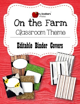 ON THE FARM Classroom Them EDITABLE BINDER COVERS