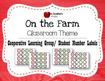 ON THE FARM Classroom Theme Cooperative Learning Labels- Student Number Labels